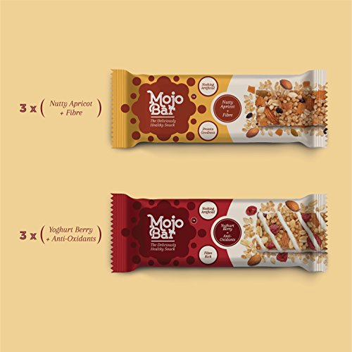 Mojobar - Custom Pack Combo Of 6 (3 Nutty Apricot + 3 Yoghurt Berry) Snack Bar