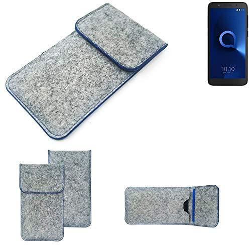 K-S-Trade® Filz Schutz Hülle Für Alcatel 1C Single SIM Schutzhülle Filztasche Pouch Tasche Case Sleeve Handyhülle Filzhülle Hellgrau, Blauer Rand