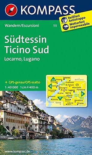Südtessin - Locarno - Lugano 1 : 40 000: Wanderkarte. GPS-genau