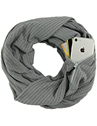 CADITEX Travel Scarf, Infinity Scarf with Secret Hidden Zipper Pocket