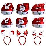 ZYDTRIP Weihnachtsmütze für Kinder und Erwachsene, 9er-Pack Weihnachten Stirnband und Hut, Verschiedene Modelle, Nikolausmützen Weihnachtsmann Mütze Weihnacht Nikolaus
