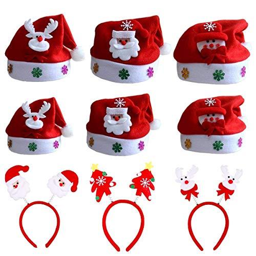 Mann Rentier 2 Kostüm - ZYDTRIP Weihnachtsmütze für Kinder und Erwachsene, 9er-Pack Weihnachten Stirnband und Hut, Verschiedene Modelle, Nikolausmützen Weihnachtsmann Mütze Weihnacht Nikolaus