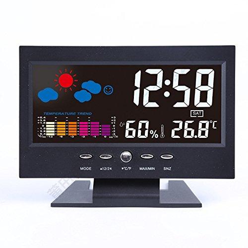 Lcd Temperatur und Luftfeuchtigkeit Wecker Sound Control Rechteck Desktop Nacht elektronische Uhr 6 Zoll schwarz (Hohe Sound-wecker)