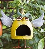 Vogelfutterhaus Crazy Owl gelb aus Metall Figur Gartenfigur Vogelhaus