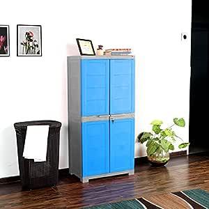 Cello Novelty Plastic Big 2 Door Cupboard - Blue and Grey