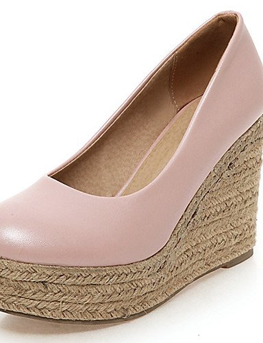 WSS 2016 Chaussures Femme-Bureau & Travail / Habillé-Bleu / Rose / Blanc-Talon Compensé-Compensées / Talons / A Plateau / Bout Arrondi-Talons- blue-us5 / eu35 / uk3 / cn34