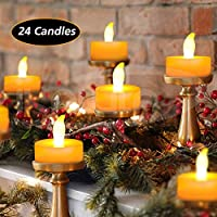 iKALULA LED Kerzen, 24 Stück Elektrische Teelichter LED Flammenlose Teelights Elektrische Kerze Lichter Dekoration für Weihnachten, Ostern, Halloween, Party, Hochzeit (Flicker Gelb)