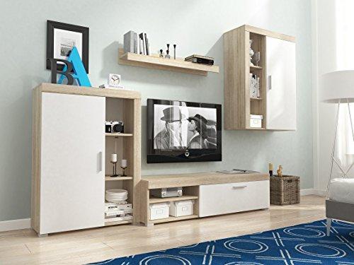 BLACK FRIDAY Begrenztes Angebot - MEG Moderne Wohnwand, Exklusive Mediamöbel, TV-Schrank, Neue Garnitur (Sonoma MAT base / Weiß MAT front)