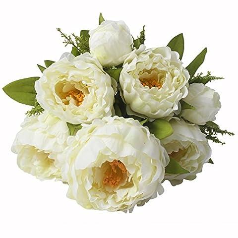 Jarown Arrangement de soie Pivoine Bouquet de fleurs artificielles pour mariage Décoration de la Maison