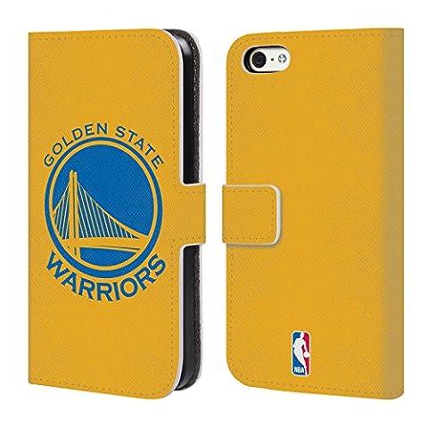 Officiel Nba Plaine Golden State Warriors Étui Coque De Livre En Cuir Pour Apple iPhone 5c