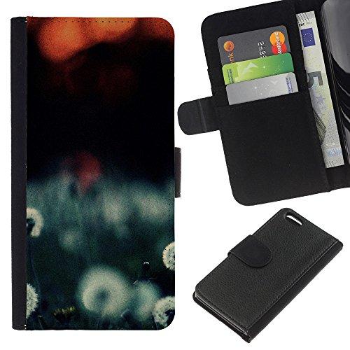 Ihec-Tech / Flip étui Housse en cuir avec des fentes de cartes pour Apple iPhone 5C - Plant Nature Forrest Flower 108