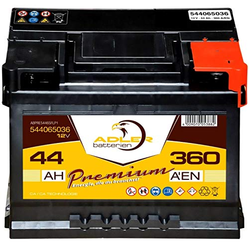 Autobatterie 12V 44Ah 360A Adler Start-Plus PKW 54465 statt 35Ah 40Ah 42Ah 45Ah