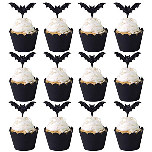 Halloween Cupcake Deko-Set, Designerbox 12 PCS Halloween-Stil Cupcake-Förmchen und 12 PCS Halloween Party Cupcake Topper Picker Mini Kürbis Spider Ghost Hat Fledermaus Boo Muster Stil 3