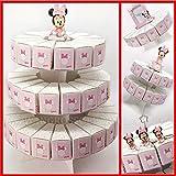 Torta di bomboniere con alzatina e fette portaconfetti in cartoncino rosa con Minnie, firmate Disney, confettate fai da te nascita compleanno femmina (3 Piani - 53 Fette - con confetti rosa)