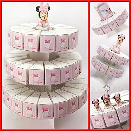 Torta di bomboniere con alzatina e fette portaconfetti in cartoncino rosa con Minnie, firmate Disney, confettate fai da te nascita compleanno femmina (2 Piani - 31 Fette - senza confetti)