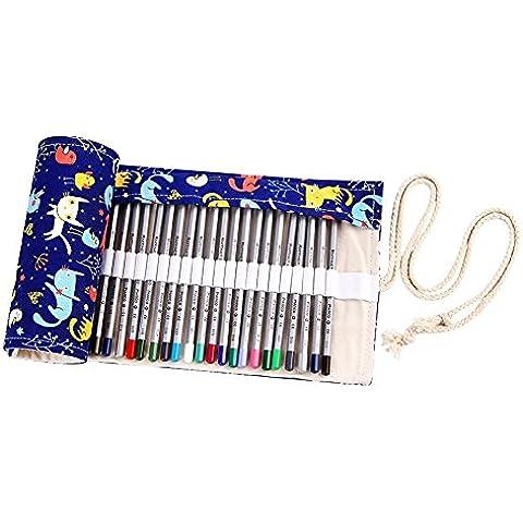 Nawoshow 72 buche avvolgono caso titolare simpatico modello gatto matita involucro matita per Artista, scuola, ufficio (non includere le matite) (72 fori)