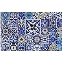 Tappetino cucina tappeto Cementine Piastrelle Toni Blu Arabesque 46X76X0.4 cm Variante unica
