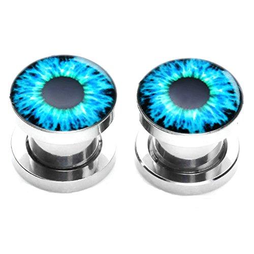 PiercingJ - 2PCS Boucles d'Oreilles Diable Oeil Yeux Email Bleu Gothique Acier Inoxydable Ecarteur Expandeur Plug Punk Unisexe 4mm - 12mm Bleu/Taille:8mm