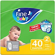 Fine Baby Diapers, DoubleLock Technology , Size 2, Small 3-6kg, Economy Pack. 40 diaper count
