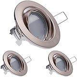 3er LED Einbaustrahler Set Silber gebürstet mit LED GU10 Markenstrahler von LEDANDO - 5W DIMMBAR - warmweiss - 110° Abstrahlwinkel - schwenkbar - 35W Ersatz - A+ - LED Spot 5 Watt - Einbauleuchte LED rund