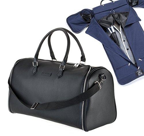 WLDOHO® 2in1 Anzugtasche Weekender für Business Reisen und Handgepäck | Kleidertasche für Anzüge mit Schuhfach, Tragegurt und Kleidersack Anzughülle