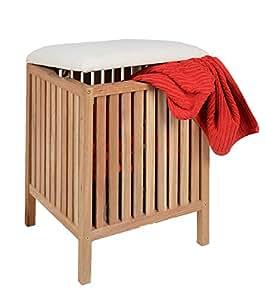 badhocker mit sitzkissen sauna badezimmer sitz und w schekorb aus massivem walnuss holz amazon. Black Bedroom Furniture Sets. Home Design Ideas