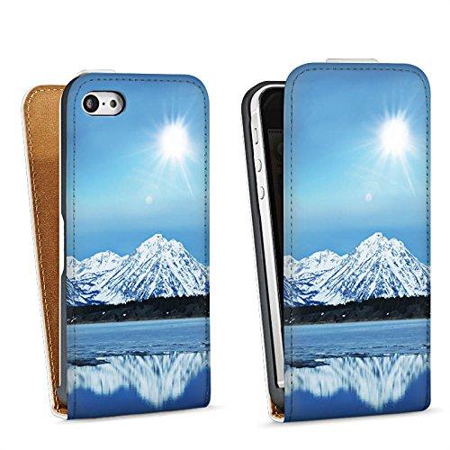Apple iPhone 4 Housse Étui Silicone Coque Protection Montagne Neige Sommet Sac Downflip blanc