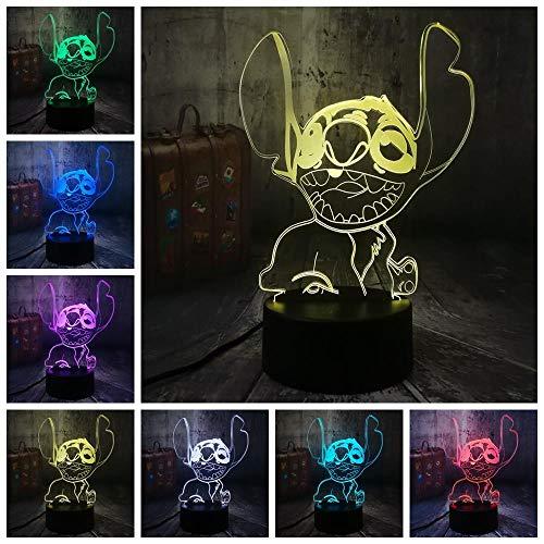 Niedliche Nadel (CFLEGEND3D Nachtlicht (Touch + Fernbedienung) LED Tischlampe Statue Kindergarten Schlaf Licht 7 Farbe USB Cartoon glücklich niedlich Nadel Tischlampe geeignet für kleine Jungen Spielzeug)