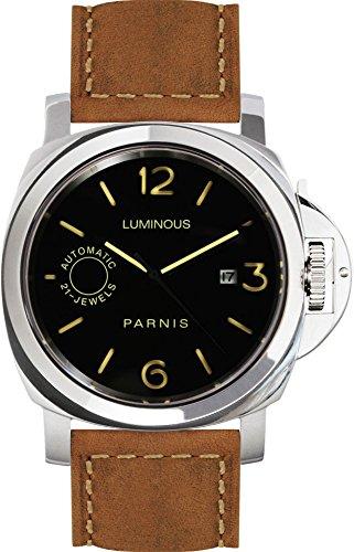 PARNIS 9066 Klassische Edelstahl-Automatik-Uhr 10BAR Wasserdicht 44mm Saphirglas Herren-Uhr Lederarmband MIYOTA Markenuhrwerk Kaliber 821A