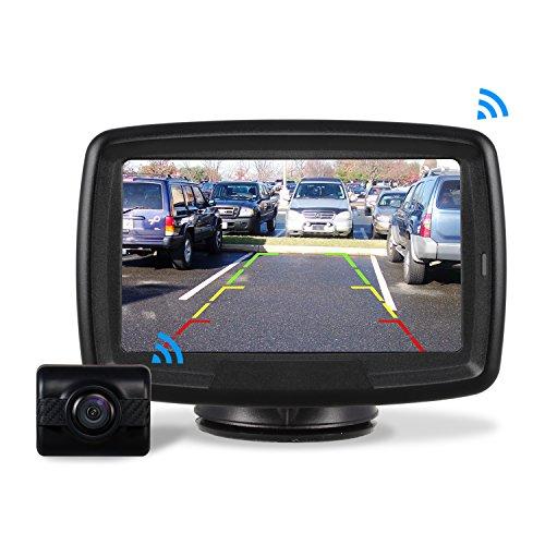 AUTO-VOX Caméra de Recul Sans Fil - Caméra de Voiture Numérique avec Bonne Vision Nocturne, Caméra Etanche IP68 avec 4.3'' LCD Moniteur, DC 12V/24V TD-2