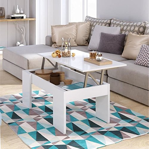 CRAVOG Table Basse Transformable 100 cm - Blanc Brillant