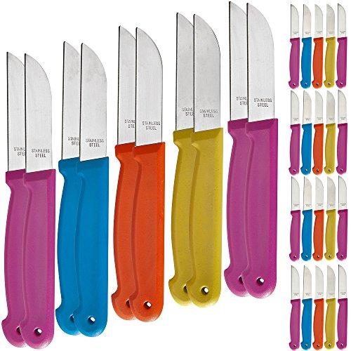 Deuba 30 Stück Küchenmesser Messer Set Obstmesser Schälmesser Allzweckmesser Küche Set bunt