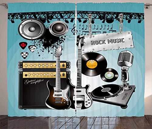 FAFANIQ Rock Music Curtains, Concert Pattern Guitars and Records with Giant Speakers...