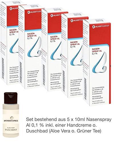 Nasenspray Al 5 x 10ml - Sparpackung - inkl. einer Handcreme o. Duschbad der Marke Apotheken-Express