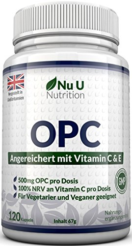 OPC Traubenkernextrakt Kapseln | 120 OPC-Kapseln (2 Monatsvorrat) | OPC Kapseln Hochdosiert 500mg pro Portion | OPC Kapseln mit zusätzlichem Vitamin C & E | Für Vegetarier & Veganer Geeignet