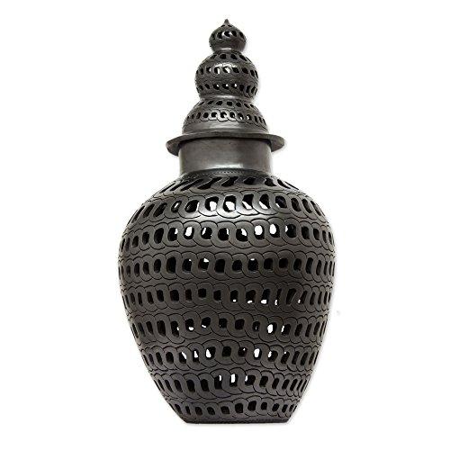 Novica Oaxaca 'Elegance' Keramik Dekorative Jar, schwarz
