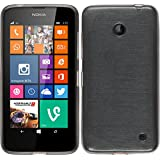 PhoneNatic Case für Nokia Lumia 630 Hülle Silikon silber brushed Cover Lumia 630 Tasche Case