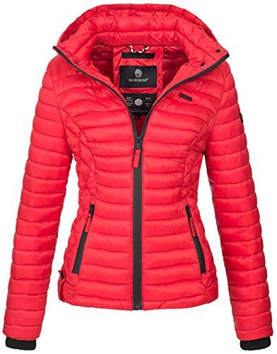 Marikoo Damen Jacke Steppjacke Übergangsjacke mit Kapuze gesteppt B600 [B600-Samt-Rot-Gr.L]