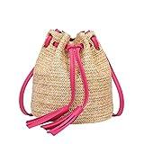 VJGOAL Damen Schultertasche, Damen Mode Boho Einfarbig Hohe Kapazität Weben Strand Reise Quasten Schulter Eimer Tasche (Heiß Rosa)