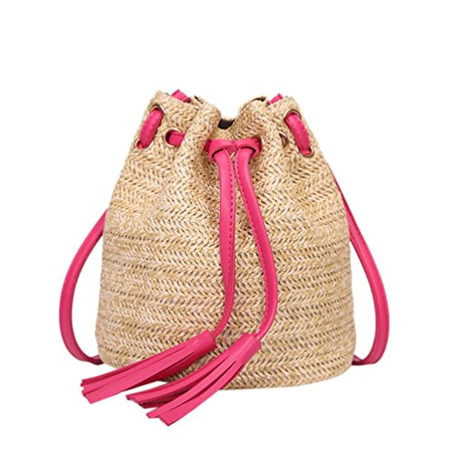 VJGOAL Damen Schultertasche, Damen Mode Boho Einfarbig Hohe Kapazität Weben Strand Reise Quasten Schulter Eimer Tasche (Heiß Rosa) -