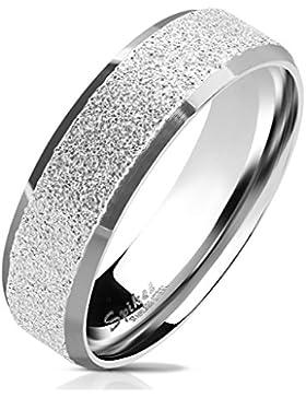 Paula & Fritz® Sandgestrahlter Edelstahlring Damen-ring Verlobungs-ring Freundschaftsring Herrenring Partnerring...