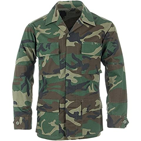 Teesar Hommes BDU Shirt Ripstop Woodland taille L