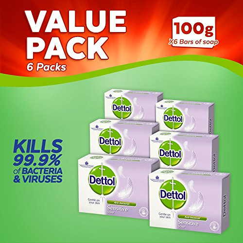 Dettol Bar Soap Sensitive, 100 g, Pack of 6