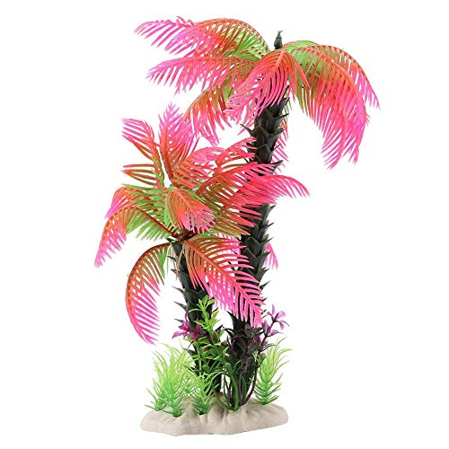 Pianta Artificiale di plastica Acquario Bonsai Albero Decor Imitazione Coconut Tree Decoration per Acquario Fish Tank Garden Landscaping(Rosa)