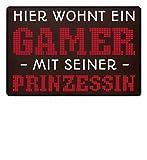 Shirtee Hier wohnt ein Gamer mit seiner Prinzessin Fußmatte/Gamen / Zocken/Nerd / Gaming - Fußmatte