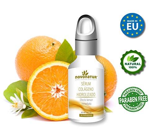 Serum facial de Colágeno Hidrolizado con Ácido Hialurónico, con vitamina C. Suero Premium antiarrugas y tensor de piel. Efecto inmediato, 100% natural, 30ml. NOVONATUR.