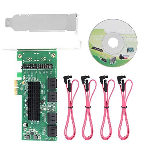 PCI-E-Konverterkarte, 6GB PCI-E-zu-SATA 3.0-Konverter mit 8 Anschlüssen PCI SATA III Express Controller Adapter-Erweiterungskarte - Serial-ata 3g