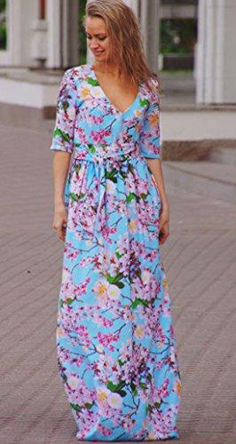 Rock Lang Damen Übergröße Kleid Drucken Kleid Elegant Etuikleid abendkleid Kleider Blau
