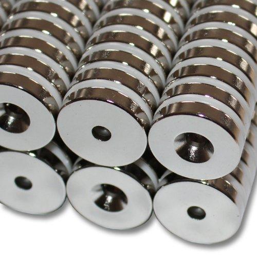 5 NEODYM RING MAGNETE Ø20x4 mm 4,2 mm BOHRUNG SENKUNG SÜD N45 7,5 KG VERSCHRAUBEN HAUSHALT -
