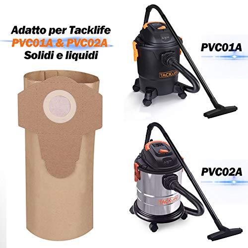 Sacchetti per Aspirapolvere TACKLIFE PVC00Z 5 Sacchetti Filtrodi Ricambio Diametro è 60 Apposito per TACKLIFE Aspiratore Solidi e Liquidi PVC01A e